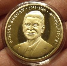 Buy Gem Cameo Proof 24k Gold Plated Ronald Reagan 40th President Medallion~Free Ship