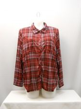 Buy PLUS SIZE 3X Womens Button Down Shirt DEREK HEART Wine Plaid Long Sleeve Collar