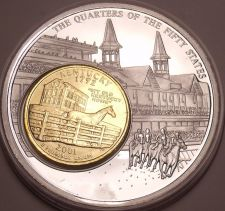 Buy Massive 50mm Silver And Gold Plated Kentucky Derby State Quarter~Awesome~Fr/Ship