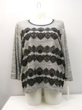 Buy Plus Size 3X Women's Knit Top ALFRED DUNNER Grey Scoop Neck 3/4 Sleeves Pullover