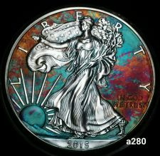 Buy 2015 Rainbow Monster Toned Silver American Eagle 1oz fine with velvet case #a280