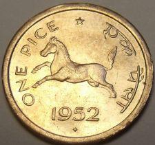 Buy Gem Unc India 1952 Pice~Horse~Equus caballus Equidae~Awesome~Free Shipping