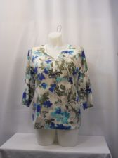Buy Karen Scott T-Shirt Plus Size 0X Blue Floral 3/4 Sleeves V-Neck Button Pullover