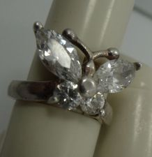 Buy sz 5.5 Butterfly Ring Sterling 925 Silver & Mostley CZ 18mm at the Widest Point