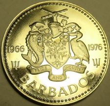 Buy Rare Proof Barbados 1976 25 Cents~10th Anniv Of Independence~12,000 Minted~Fr/S