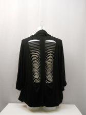 Buy Democracy Black Distressed Back Dolman Sleeves Women's Wrap Cardigan Size L
