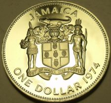Buy Rare Cameo Proof Jamaica 1974 Dollar~Only 22,000 Minted~Fantastic~Free Shipping