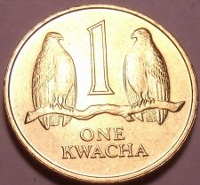 Buy Gem Unc Zambia 1992 1 Kwacha~Two Falcons On a Branch~See R African Coins~Free Sh