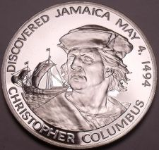 Buy Massive Silver Proof Jamaica 1975 10 Dollars~Christopher Columbus 1494~Free Ship