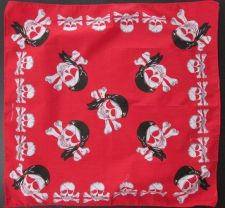 Buy Pirate of Caribbean Flag Bandanna Biker Head wrap Scarf Red Fabric FQ 19x19 inch