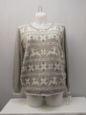 Buy PLUS SIZE 1X Women's Crewneck Sweater ALFRED DUNNER Grey Long Sleeves Pullover
