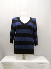 Buy Style & Co Blue/Black Striped V-Neck 3/4 Sleeves Sweater Size 2X