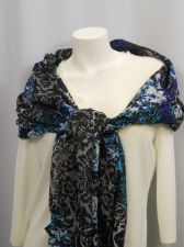Buy Womens Scarf STYLE&CO Black Blue Paisley Wrap Shawl Stole 80X28 All Occasion