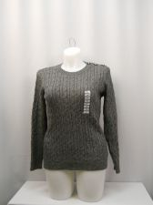 Buy Charter Club Sweater Plus Size 0X Gray Long Sleeves Crew Neck 3 Button Shoulder