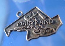 Buy Vintage Souvenir Charm: F Sterling Maryland Map