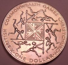 Buy Gem Unc New Zealand 1974 Dollar~10th Annual Commonwealth Games~Free Shipping