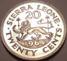 Buy Large Rare Proof Sierra Leone 1964 20 Cents~10,000 Minted~Walking Lion~Free Ship