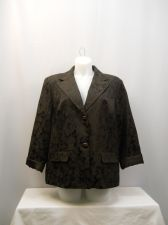 Buy George Brown Floral Long Sleeves Collared 2 Button Lined Blazer Size 26W-28W
