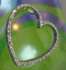"Buy Sparkling 1.25"" Heart Outline Pendant / Sterling 925 Silver & CZ / NWOT"
