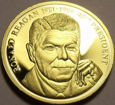 Buy Gem Cameo Proof 24k Gold Plated Ronald Reagan 40th President Medallion~Fr/Ship