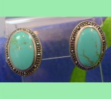 Buy Post Earrings : Beautiful Turquoise And Marcasite Pierced Post Earrings - Perfec