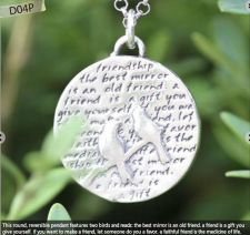 Buy Inspirational Kevin & Anna Charm 950 Silver / BIRDS = FRIENDSHIP QUOTE / 22mm