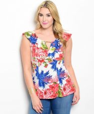 Buy Viva You Floral Sleeveless Ruffled Neck Empire Waist Top Jr. Plus Size 1XL-3XL