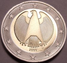 Buy Cameo Proof Germany 2002-D 2 Euros~Minted In Munich~Eagle~Bi-Metal~Free Shipping