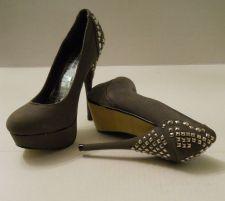 "Buy RCK BELLA Grey Imitation Suede Stilettos Evening Wear 5"" Studded Heels, size 7"