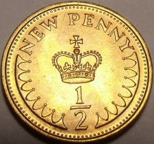 Buy Gem Unc Great Britain 1981 Half New Penny~A Royal Crown~Last Year~Free Shipping