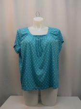 Buy PLUS SIZE 1X Womens Knit Top DEBBIE MORGAN Aqua Polka Dot Pleated Scoop Neck