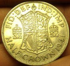 Buy Silver Great Britain 1941 Half Crown~King George VI~Quartered Shield~Free Ship