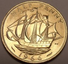 Buy Unc Great Britain 1966 Half Penny~The Golden Hind~Fantastic~Free Shipping