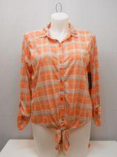 Buy PLUS SIZE 1X Womens Button Shirt FRENCH LAUNDRY Knit Plaid Lace Yoke Hi Lo Hem