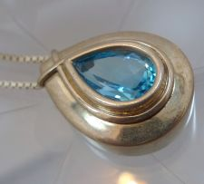 "Buy Blue Topaz In Sterling Silver Bezel Pendant w/ 22"" Chain (Tiny Hallmark)"