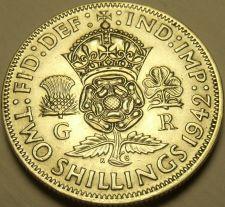 Buy Unc Silver Great Britain 1942 2 Shillings~Crowned Tudor Rose~Shamrock~Free Ship
