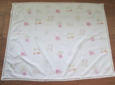 "Buy Vintage White Linen Table Top Cloth Hand Worked Crochet Lace Edging Rim 35""x45"""
