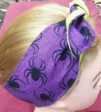 Buy Headband hair wraptie bandanna Spiders print 100% Cotton