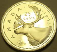 Buy Cameo Proof Canada 1993 25 Cents~Caribou~143,065 Minted~Free Shipping