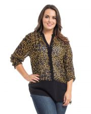 Buy Roman Stone Print 3/4 Sleeves Mandarin Collar Sheer Chiffon Top Size 1X-3X