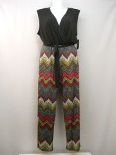 Buy Glamour Jumpsuit Plus Size 2X Black Chevron Surplice Sleeveless Wide Leg Pockets