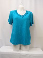 Buy I-N-C Women's T-Shirt Plus Size 0X Solid Green Tropical Teal Ruffled V-Neck