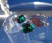 Buy Vintage Screw Back Earrings Emerald Green Cubic Zirconia Sterling by Van Dell