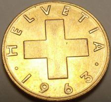 Buy Gem Unc Switzerland 1963-B Rappen~Oat Sprig~Cross~Free Shipping