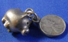 Buy vintage PIGGY BANK CHARM w/ ATTACHED PENNY / UNMARK TESTED SILVER
