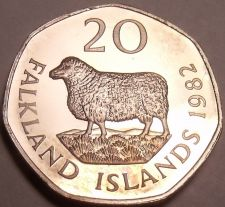 Buy Rare Proof Falkland Islands 1982 20 Pence~Romney Marsh Sheep~5k Minted~Free Ship