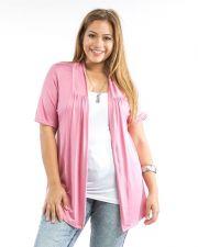 Buy Mumu Rose Short Sleeve Open Flyaway Front Knit Cardigan Size 1XL-3XL