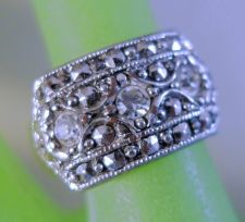 Buy sz 6 RING : Vintage Marcasite with 3 Spinel and a 6mm Shank
