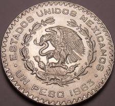Buy Huge Gem Unc Silver Mexico 1963 Peso~INDEPENDENCIA Y LIBERTAD~Fantastic~Free Shi
