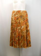 Buy Requirements Floral Elastic Waist Mid-Calf Lined A Line Panel Skirt Size XL